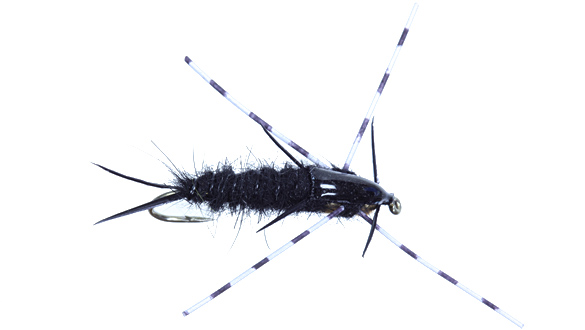 Speckle Leg Double Bead Stonefly Nymph, Black